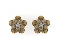 Flower Shape Diamond Earring Studs With Round Brilliant Diamonds.