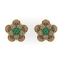 Flower Shape Diamond and Emerald Earring Studs With Round Brilliant Diamonds.