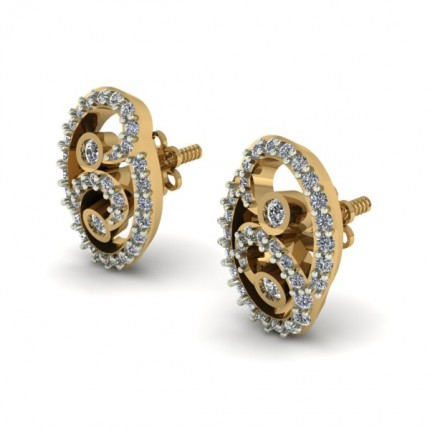 Casual Diamond Earring Studs In Prong and Bezel set Round Brilliant Diamonds.