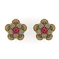 Flower Shape Diamond and Ruby Earring Studs With Round Brilliant Diamonds.