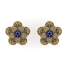 Flower Shape Diamond and Blue Sapphire Earring Studs With Round Brilliant Diamonds.