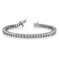 ForeverTennis Bracelet In Half Bezel set Round Brilliant Diamonds.