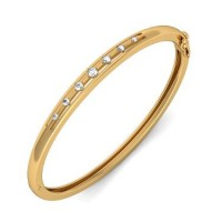 Casual Wearing Bangle Bracelet In Prong set Round Brilliant Diamonds.