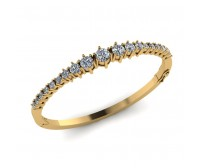 Cuff Bracelet In Prong  Set Round Brilliant Diamonds.