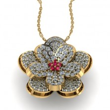 Flower Shape Designer Diamond and Ruby Pendant