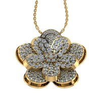 Flower Shape Designer Diamond Pendant