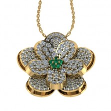 Flower Shape Designer Diamond and Emerald Pendant