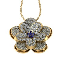 Flower Shape Designer Diamond and Blue Sapphire Pendant