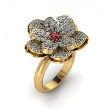 Flower Shape Designer Diamond And Ruby Ring