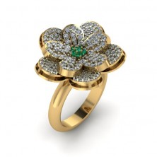 Flower Shape Designer Diamond And Emerald Ring