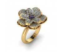 Flower Shape Designer Diamond And Blue Sapphire Ring