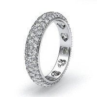 2.04 Ct. Eternity Diamond Band Ring of 3 Row Round Brilliant Diamonds with Beautiful Heart Design Inside the Band