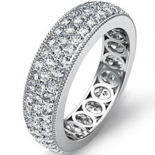 1.53 Ct. Eternity Diamond Band Ring of 3 Row Round Brilliant Diamonds with Beautiful Filigree Design Inside the Band