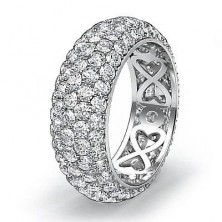 4.38 Ct. Eternity Diamond Band Ring of 5 Row Round Brilliant Diamonds with Beautiful Filigree Design Inside the Band