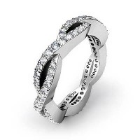 2.40 Ct. Eternity Diamond Band Ring In Wave Style Round Brilliant Diamonds