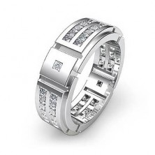 1.52 Ct. Eternity Diamond Band Ring With Princess Cut and Round Briallint Diamonds.