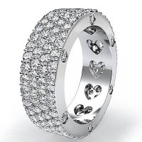 2.28 Ct. Eternity Diamond Band Ring of 4 Row Round Brilliant Diamonds with Beautiful Heart Design Inside the Band