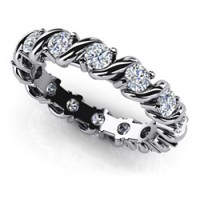 1.12 Ct. Swirl Style Eternity Diamond Band Ring With Round Brilliant Diamonds