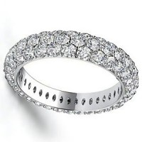 2.55 Ct. Eternity Diamond Band Ring of 3 Row Round Brilliant Diamonds