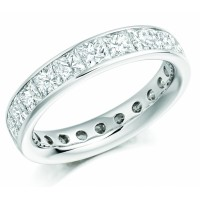 3.00 Ct. Eternity Diamond Band Ring of 1 Row Princess Cut Diamonds