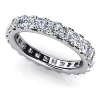 3.80 Ct. Eternity Diamond Band Ring of 1 Row Princess Cut Diamonds