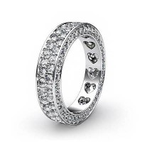 1.36 Ct. Eternity Diamond Band Ring of 2 Row Round Brilliant Diamonds with Beautiful Heart Design Inside the Band
