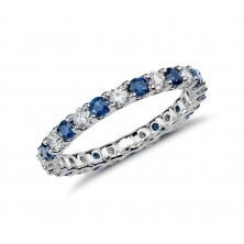 0.85 Ct. Eternity Diamond Band Ring With Round Brilliant Diamonds and Round Shape Blue Sapphire
