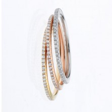 1.02 Ct. Set Of 3 Eternity Diamond Band Rings With Round Brilliant Diamonds