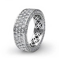 2.55 Ct. Eternity Diamond Band Ring of 3 Row Round Brilliant Diamonds with Beautiful Filigree Design Inside the Band