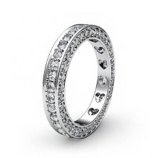 1.02 Ct. Eternity Diamond Band Ring of 1 Row Round Brilliant Diamonds with Beautiful Heart Design Inside the Band