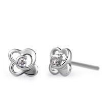 Flower Shape Solitaire Diamond Earring Studs In Half Bazel set Round Brilliant Diamonds.