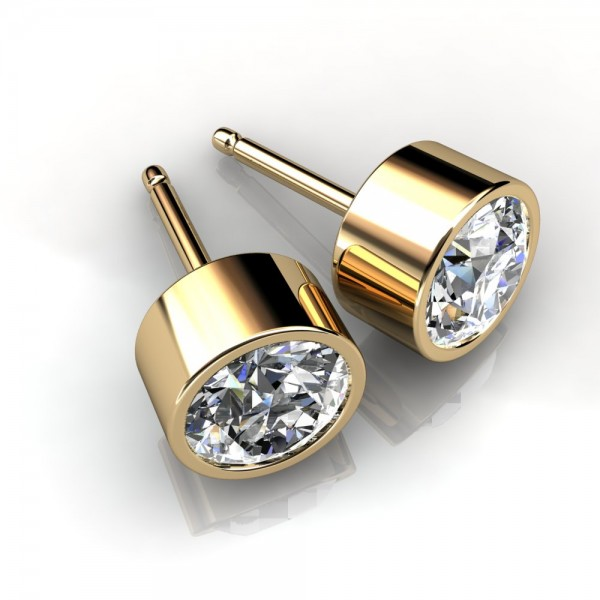 set earrings main diamond bezel