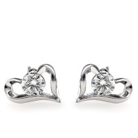 Heart Shape Solitaire Diamond Earring Studs In 1 Prong and Side Bezel set Round Brilliant Diamonds.