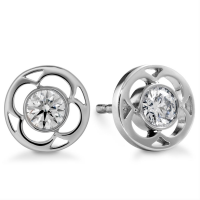 Hollow Flower Shape Solitaire Diamond Earring Studs In Bezel set Round Brilliant Diamonds.