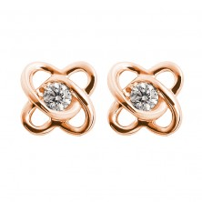 Twin Cross Heart Shape Solitaire Diamond Earring Studs In Bezel set Round Brilliant Diamonds.