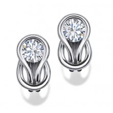 Solitaire Diamond Earring Studs In Bezel set Round Brilliant Diamonds.