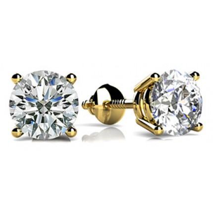 Forever Solitaire Diamond Earring Studs In 4 Prong set Round Brilliant Diamonds.
