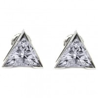 Triangular Shape Solitaire Diamond Earring Studs In 3 Prong set Trillion  Diamonds.