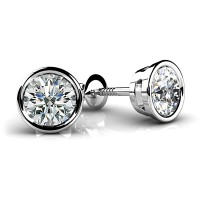 Forever Solitaire Diamond Earring Studs In Bezel set Round Brilliant Diamonds.