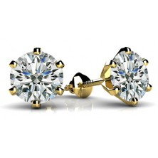 Forever Solitaire Diamond Earring Studs In 6 Prong set Round Brilliant Diamonds.