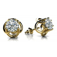 Petal Shape Solitaire Diamond Earring Studs In 8 Prong set Round Brilliant Diamonds.