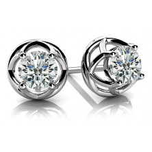 Forever Solitaire Diamond Earring Studs with side Filigree work In 4 Prong set Round Brilliant Diamonds.