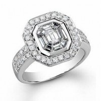 Kissing Diamond Ring with Accent Diamonds