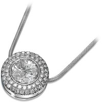 Kissing Diamond Pendant with Accent Diamonds