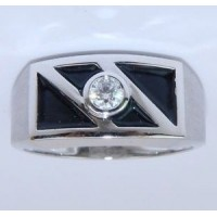 "0.50 Ct. Men""s Solitaire Diamond Ring With Round Brilliant Diamond and Black Enamel"