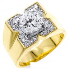 "1.30 Ct. Men""s Solitaire Diamond Ring With Round Brilliant Diamond and Side Round Brilliant Diamonds"