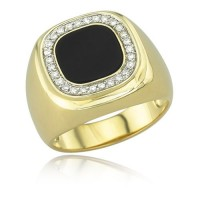 "0.42 Ct. Men""s Diamond Ring With Round Brilliant Diamonds and Black Enamel"