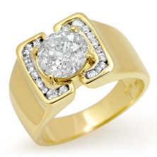 "1.20 Ct. Men""s Solitaire Diamond Ring With Round Brilliant Diamond and Side Round Brilliant Diamonds"