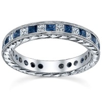 1.20 Ct. Eternity Diamond Band Ring With Princess Cut Diamonds and Square Shape Blue Sapphire
