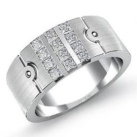 "0.80 Ct. Men""s Diamond Band Ring With Princess Cut Diamonds"